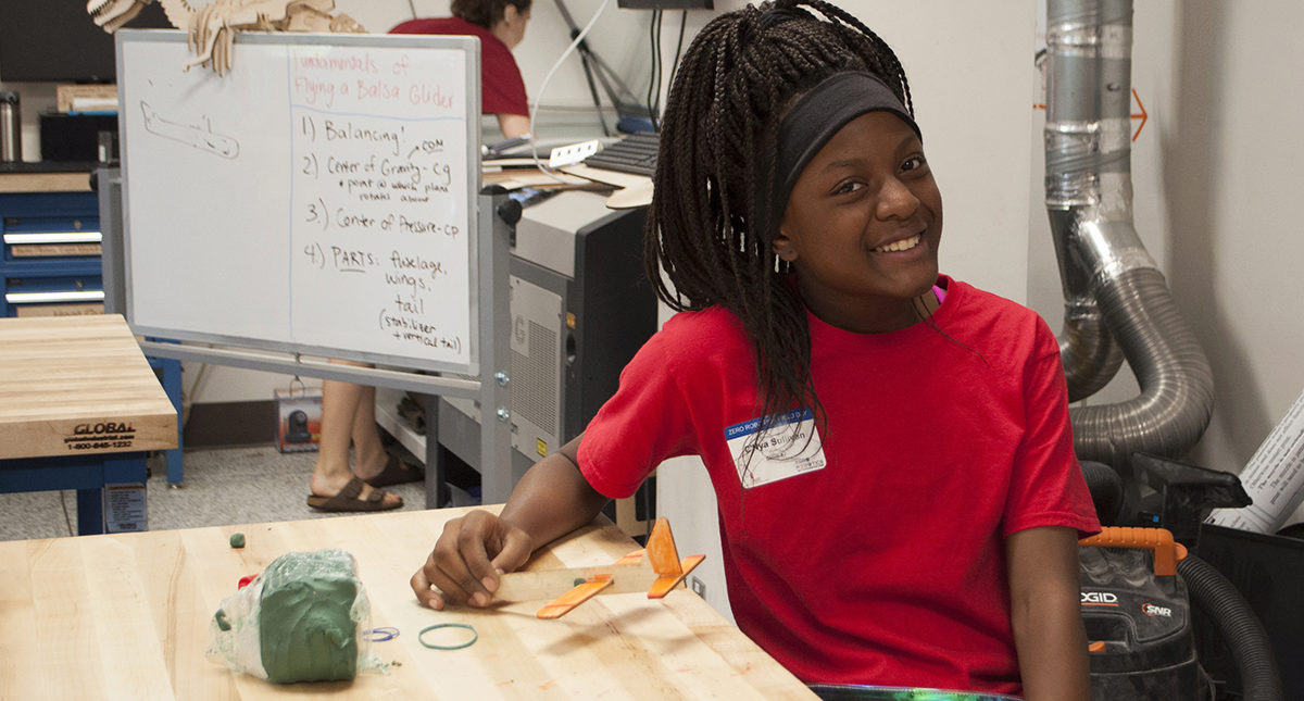 One of the many middle-school students who visited the Maker Space during the June 18 Field Day