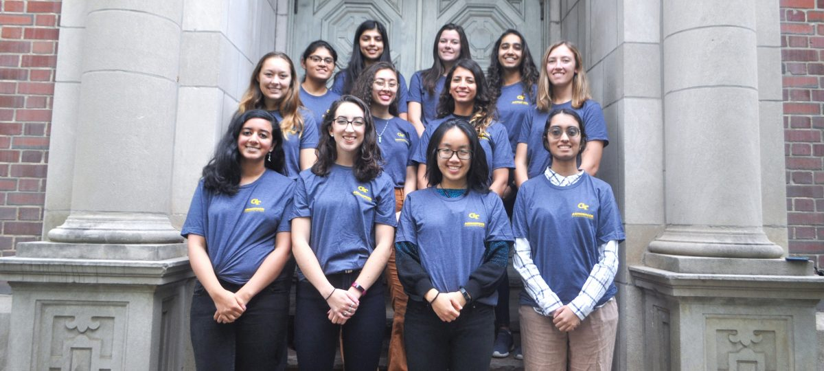 A photo of the 2019 Georgia Tech Women in Aeronautics and Astronautics board members