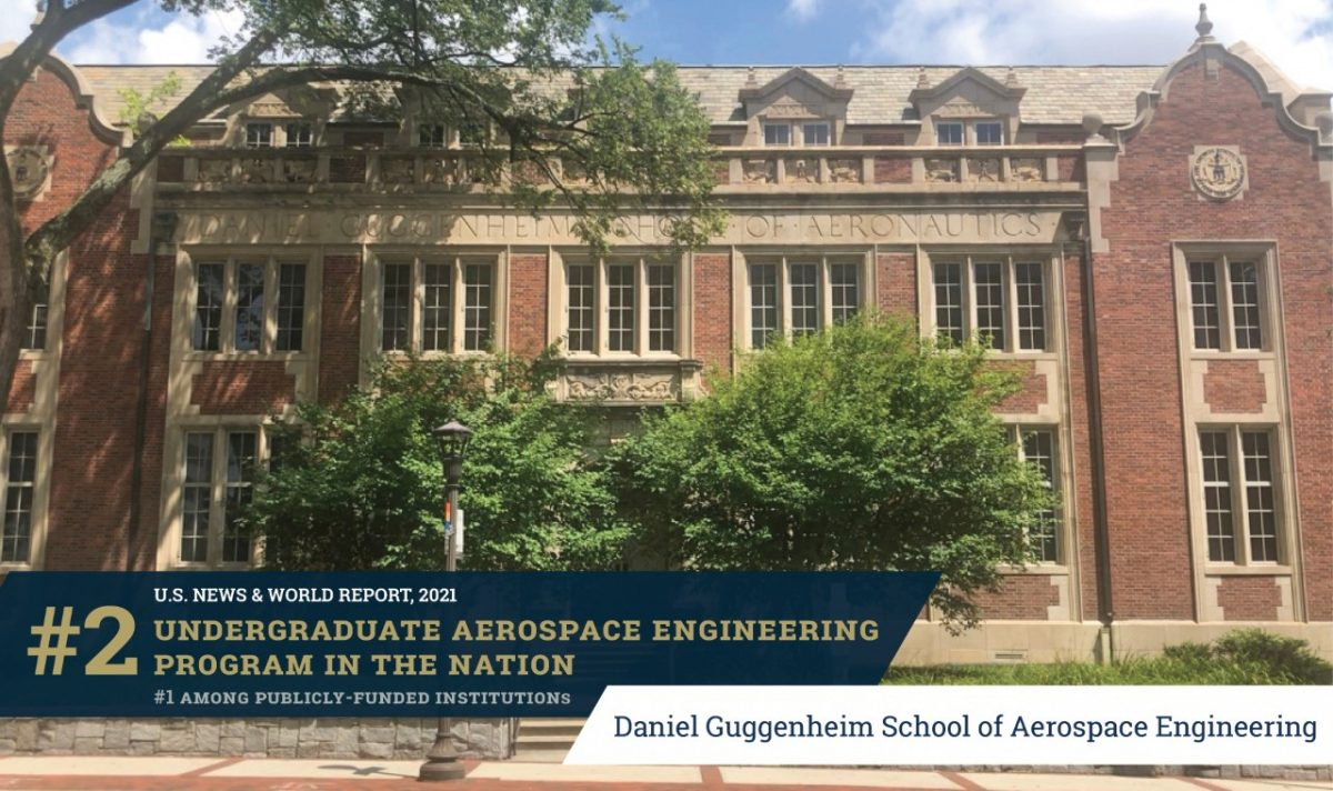 GT's Aerospace Undergrad Engineering Program rated #2 in the nation -- with the  Guggenheim Building in the background