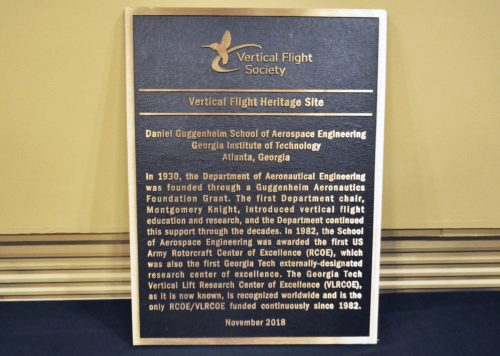 The bronze plaque given to AE from the Vertical Flight Society, recognizing GT as a heritage site