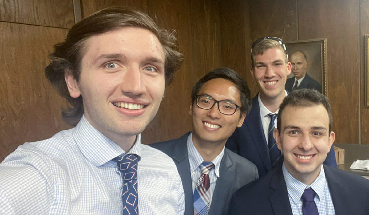 Aerospace engineering students are all smiles after winning the AIAA design competition