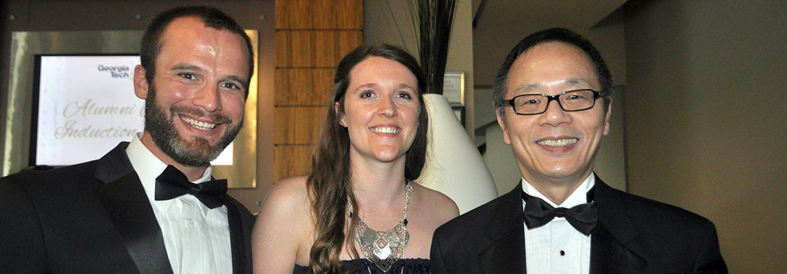 AE alumnus Ian Clark, his wife Jessica, and AE Chair Vigor Yang