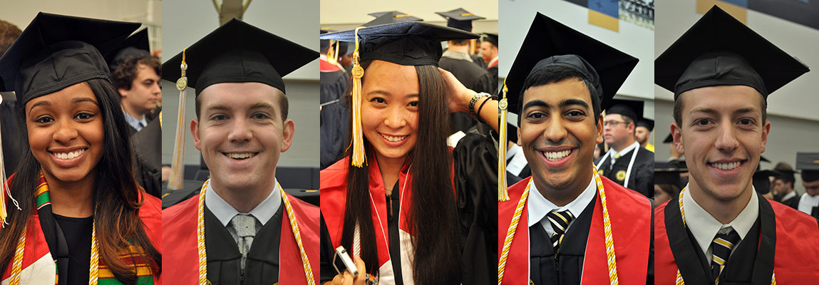 Collage of 5 individual BS-MS Honors student photos at graduation