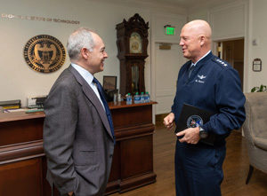 President Angel Cabrera and General John Raymond talk briefly during Gen. Raymond's visit to Georgia Tech