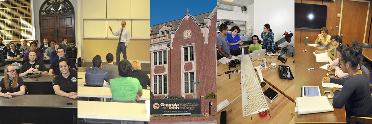 Collage of images from the AE campus- students in class, professor teaching, edifice of Gugg building, students building a plane, students studying in a room