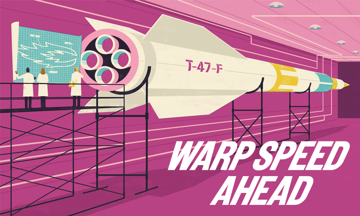 """""""Hypersonic Speed Ahead"""" graphic. Includes illustration of three researchers designing on a whiteboard and rocket"""