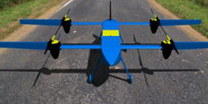 Photo of the High Aspect Ratio Electric Tandem Concept (HARETC) at the American Helicopter Society's 32nd Annual Student Design Competition
