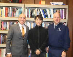 Mark Costello, Prof. Koki Ho, and General John Raymond pose for a photo during Gen. Raymond's Georgia Tech visit
