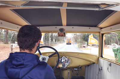 Mechanical engineering student and Ramblin Wreck driver, Ethan Rosman drives through Atlanta to deliver supplies to APS students.