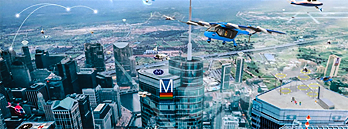 an artist's depiction of drones flying over a city