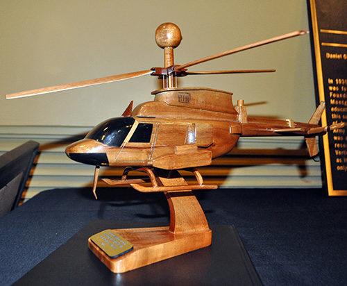 Hand-carved helicopter