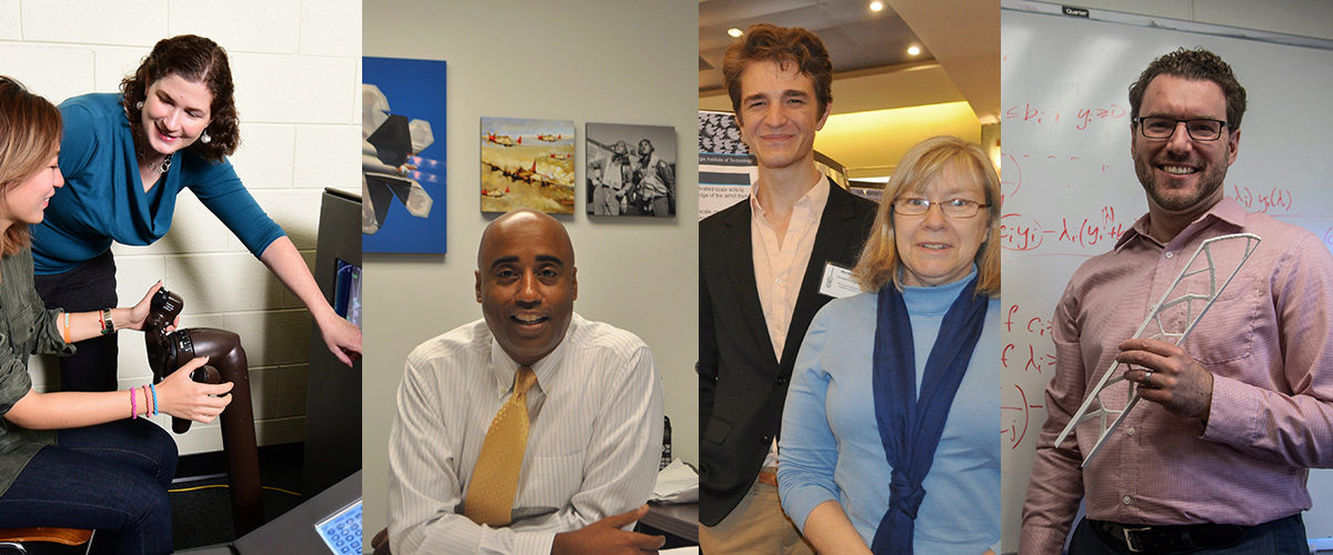 Collage of AE professors: Karen Feigh, Stphen Ruffin, Marilyn Smith, Graeme Kennedy