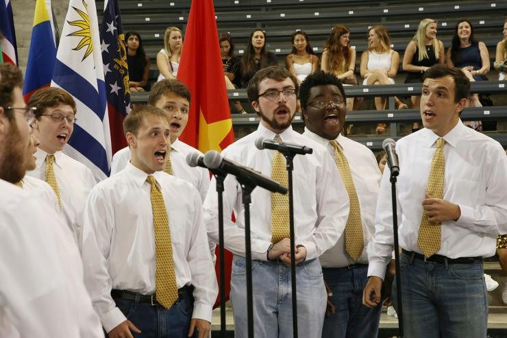 Ingersoll with other singers in the GT Glee CLub