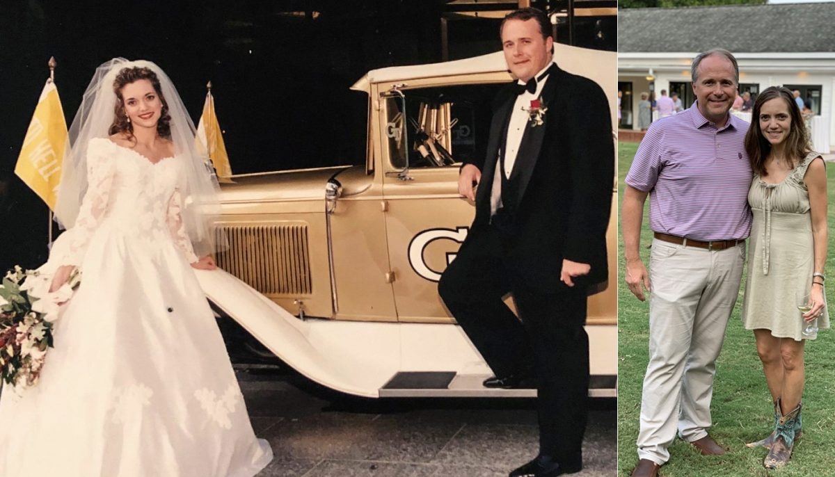 two photos of John and Angela Laughter - on their wedding day and at Homecoming