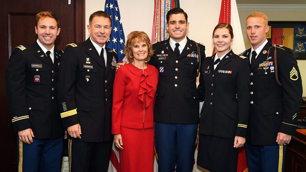 Gen. James McConville, second from left, with his family during a promotion ceremony for his son, Capt. Ryan McConville, in his office at the Pentagon. McConville was sworn in as the Army's 40th chief of staff Aug. 9. (Photo: Spc. Dana Clarke, U.S. Army)