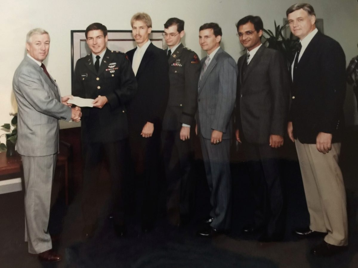 Gen. McConville is seen here during his grad school days at Georgia Tech, receiving an award from the AHS. With him is his advisor Dan Schrage