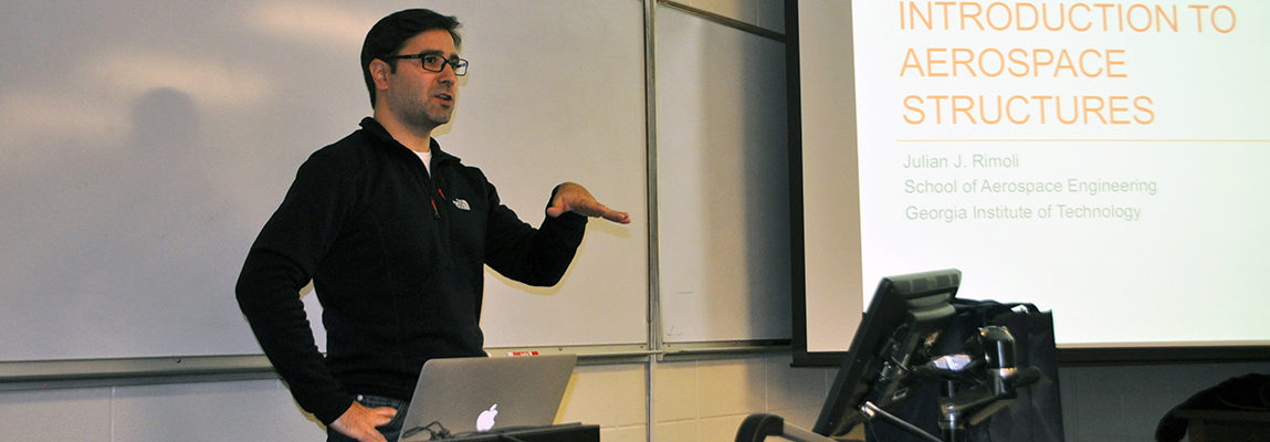 "Professor Julian Rimoli during an ""Introduction to Aerospace Structures"" Lecture"