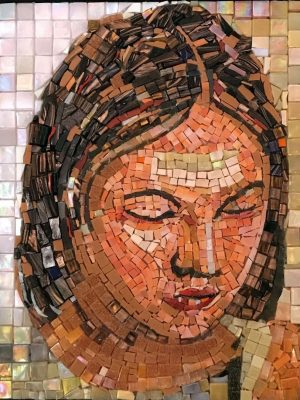 Mosaic portrait of a woman in repose by Krish Ahuja