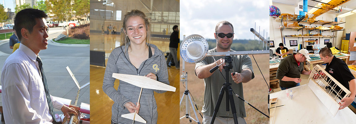 4-photo collage: male student with aircraft; female student with balsa wood model of aircraft, male grad student with UAV ground equipment; two male grad students designing a wing