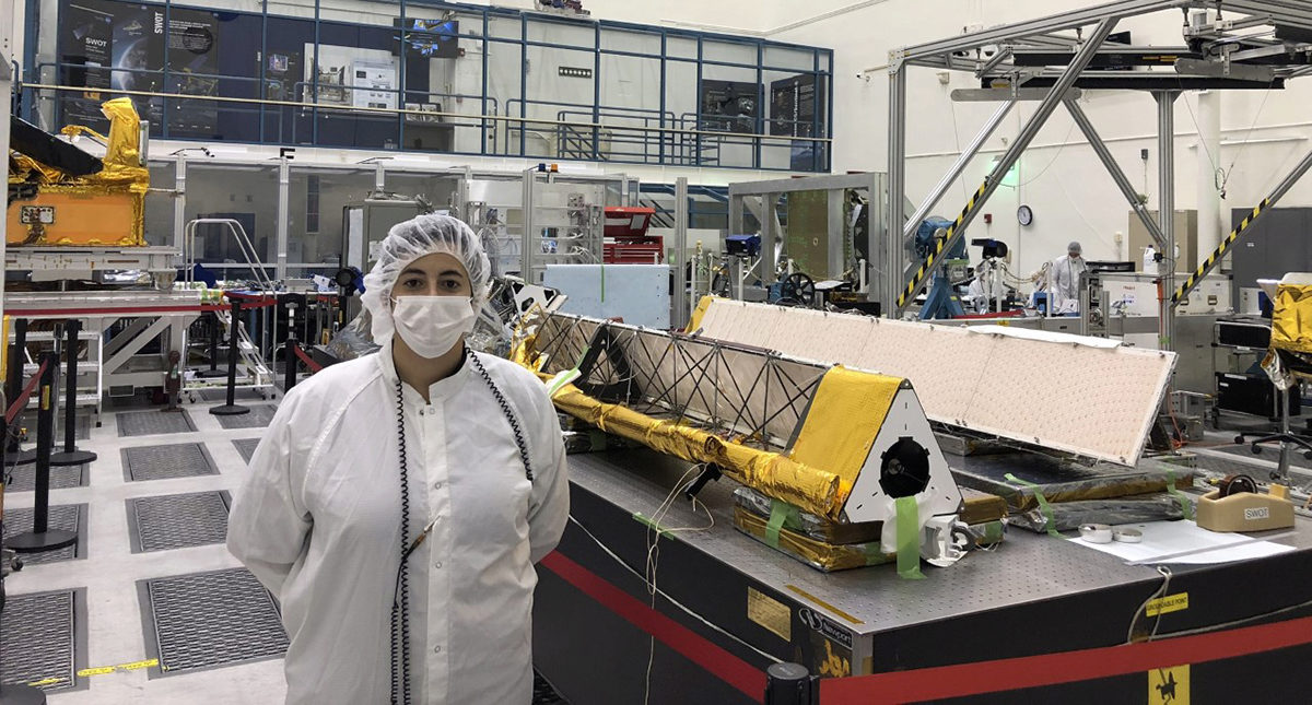 Christine Gebara at her lab at JPL