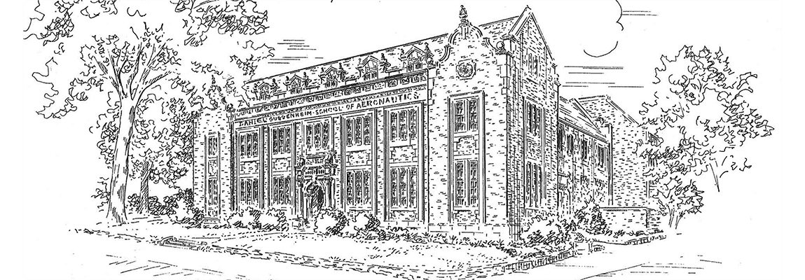 Pen ink drawing of the Guggenheim School of Aerospace Engineering as seen from the corner of North Avenue and Cherry Street.