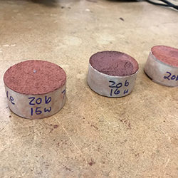 Samples of concrete manufactured in the lab