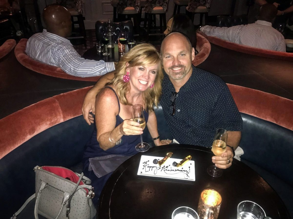 Scott and Tina Mosely celebrating one of their anniversaries