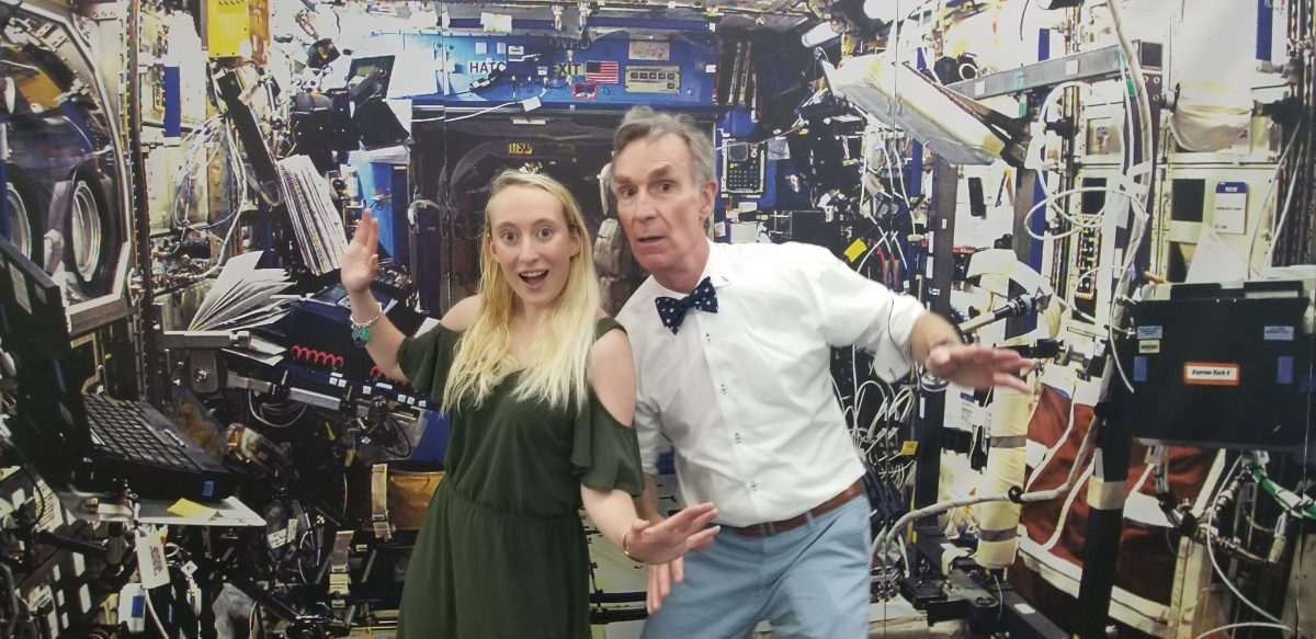 Teresa Spinelli and BIll Nye hamming it up at the Kennedy Space Center