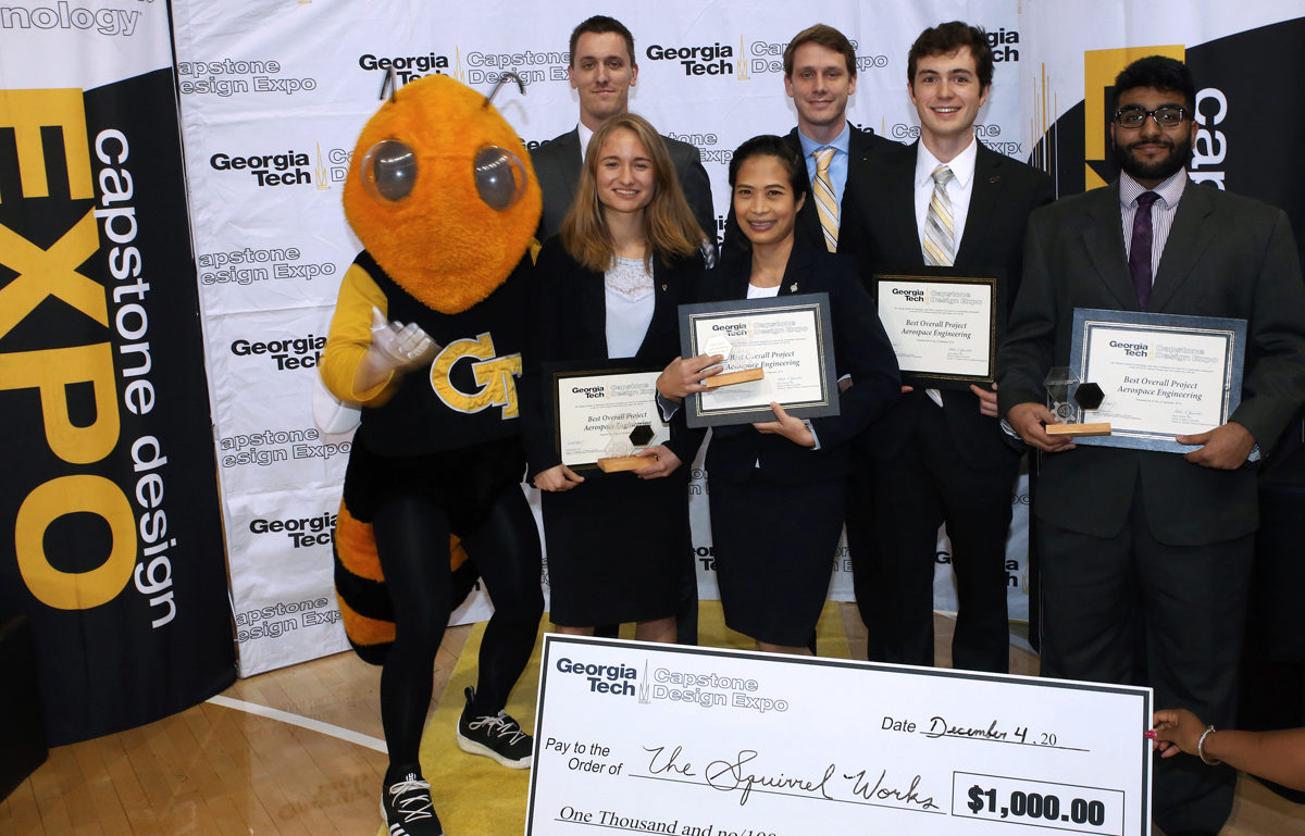 "Winning AE Team, ""The Squirrel Works"" received their check from the Fall 2018 Capstone Expo"
