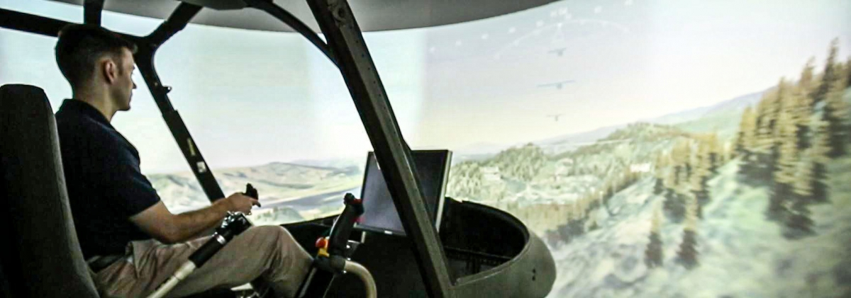 Robert Walters in the helicopter simulator
