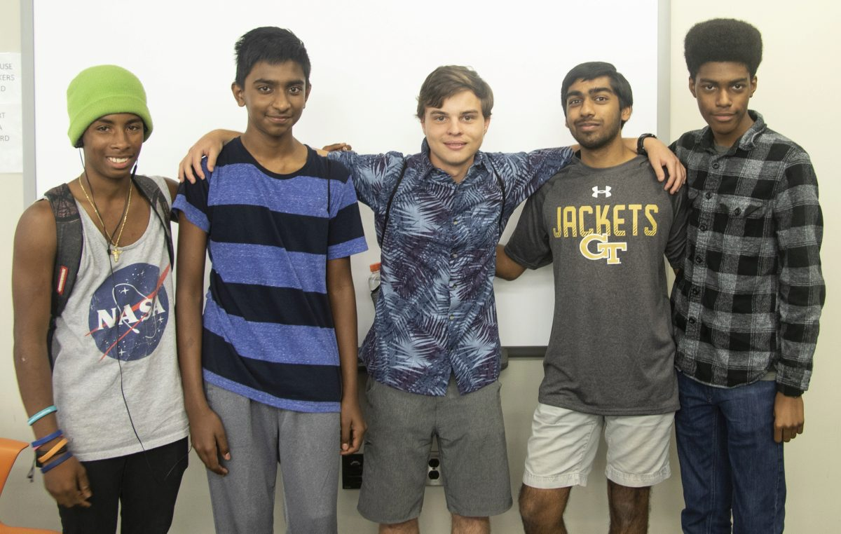 The five students in Team 2, which won the IMEET challenge
