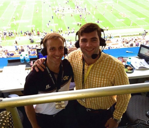 <p><strong>Jackets Color Analyst Sean Bedford</strong>, right,<em>is seen here with his colleague,<strong>Brandon Gaudin</strong>, The Voice of the Yellow Jackets</em></p>
