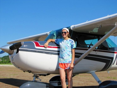 <p>This photo was snapped after Gross took her first solo  flight (no instructor!) The plane is a Cessna 150.</p>