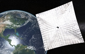 <p>This is a depiction of the tissue-thin LightSail-A that will be deployed Friday, June 5</p>
