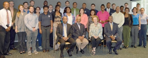 <p><em>2015 Sloan Scholars and mentors gathered on Sept. 21 to meet with Sloan Foundation program manager, Elizabeth Boylan, CoE dean, Gary May, and program director Stephen Ruffin.</em></p>