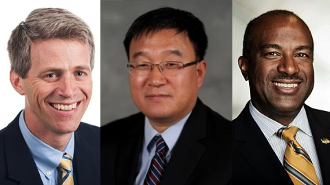<p>L to R: Timothy Lieuwen, Jianjun (Jan) Shi and Gary S. May are the newest members of the NAE.</p>