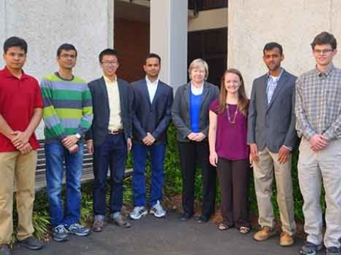 <p><em>Seen here with AHS advisor Dr. Marilyn Smith are, from left, Mohit Gupta, Dhwanil Shukla, Terry Ma, Vaibhav Kumar, Amanda Grubb, Jagadeesh Movva, and Kevin Richardson, recipients of Vertical Flight Foundation Scholarships.</em></p>