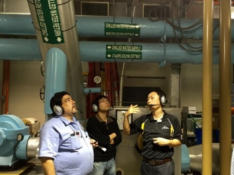 <p><em>Wesley Harding, stationary engineer in Facilities; Linyu Zhang, a graduate student with the ASDL; and Jung-Ho Lewe, research engineer in the ASDL, tour the Holland Heating and Cooling Plant, located in the center of campus.</em></p>